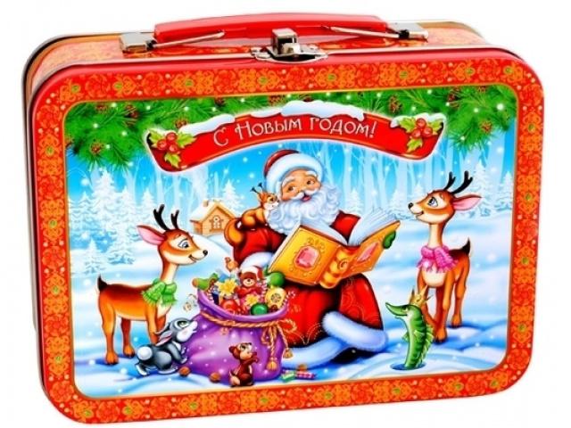 Детские новогодние подарки в жестяных банках