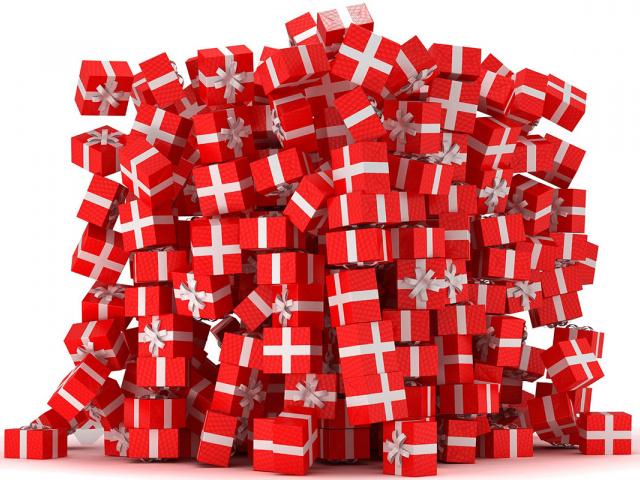 Детские подарки в картонных коробках